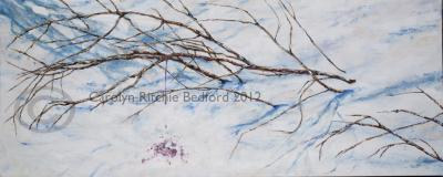 painting, blood , Arab spring, snow, branches ,art