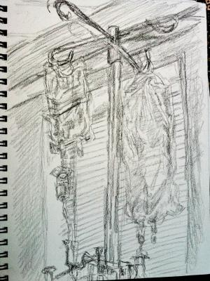 drawing, pencil, hospital, IV bags