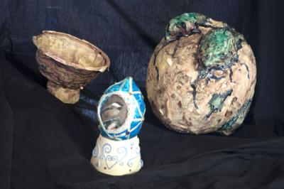papier mache, eggs, paint, plaster of paris, sculpture, school