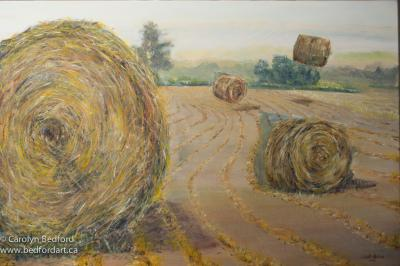 hay bales, painting, acrylic, 30 x 40, contemporary