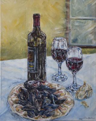 painting, still life, in progress, wine, glasses, light