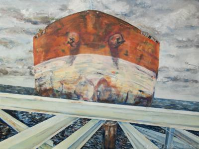 painting,  supertanker, exhibit