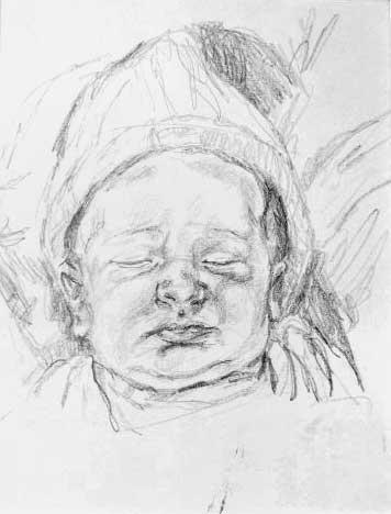 """Sleeping Baby"", drawing in pencil"