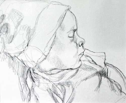 """Baby Asleep"", drawing in pencil"