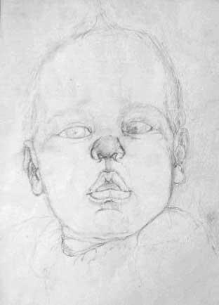 """Baby Lips"", drawing in pencil"