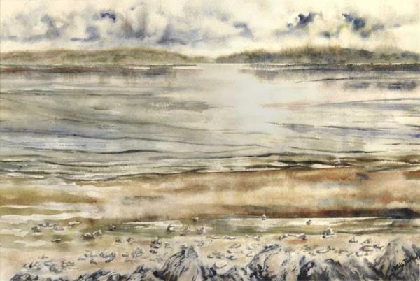 """Tidal Edge - Beach in Layers"", painting in watercolour"