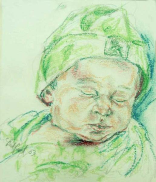 """Baby Nicholas"", drawing in chalk"