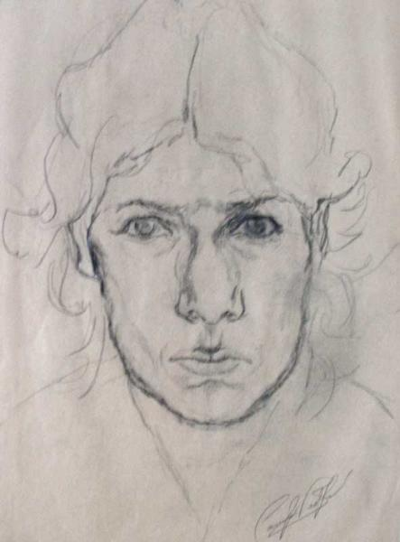 Self Portrait of Artist in pencil