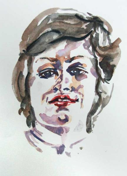 Self Portrait of the Artist in watercolour