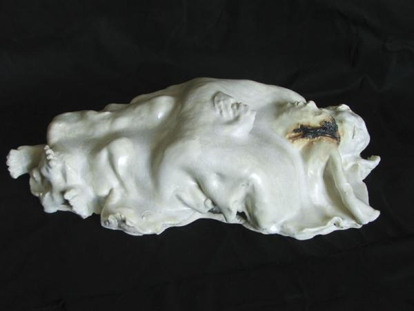 """Passion"", sculpture in glazed clay"