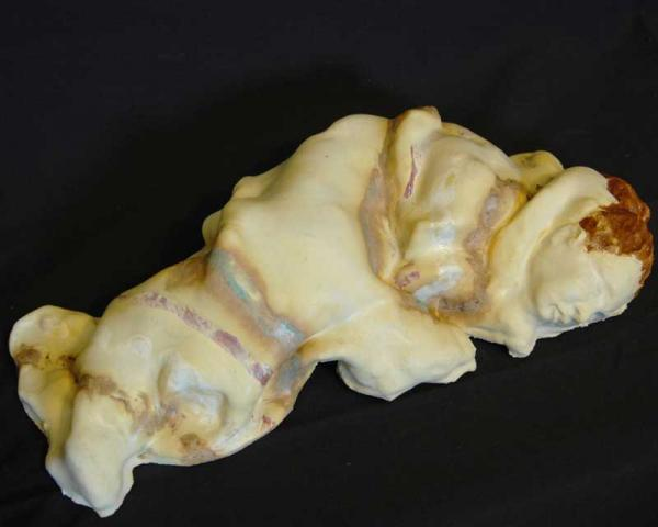 """Tradition"", sculpture in glazed clay"