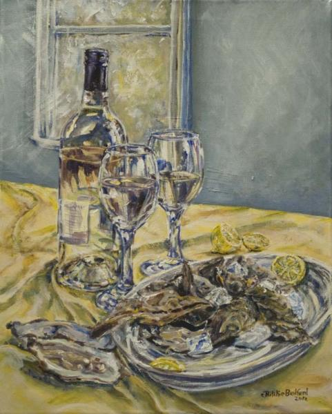 painting, wine, still life,glasses