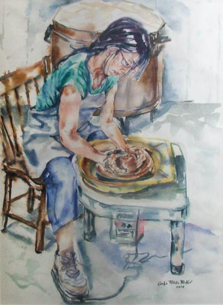 girl, life, water colour, painting, pottery