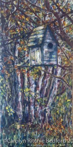 scenery, bird house, woods, painting,