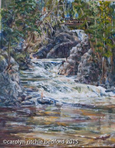 plein air, water falls, summer, painting
