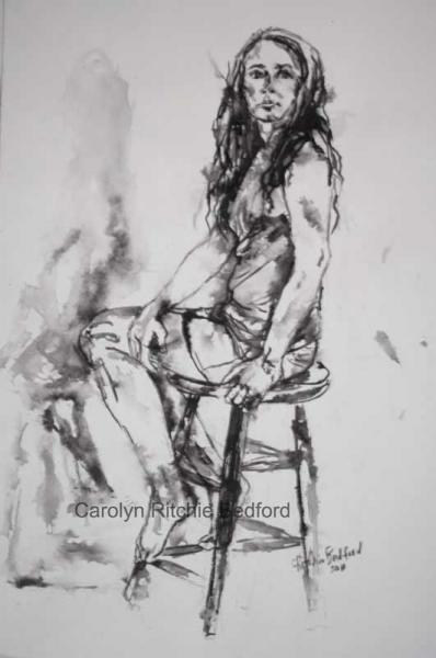 """Pen & Ink of Girl on Stool"", drawing in pen and ink on watercolour paper"
